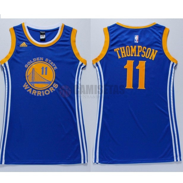 Camisetas NBA Mujer Golden State Warriors NO.11 Klay Thompson Azul Barats