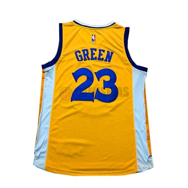 Camisetas NBA Mujer Golden State Warriors NO.23 Draymond Green Amarillo Barats