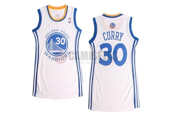 Camisetas NBA Mujer Golden State Warriors NO.30 Stephen Curry Blanco Barats