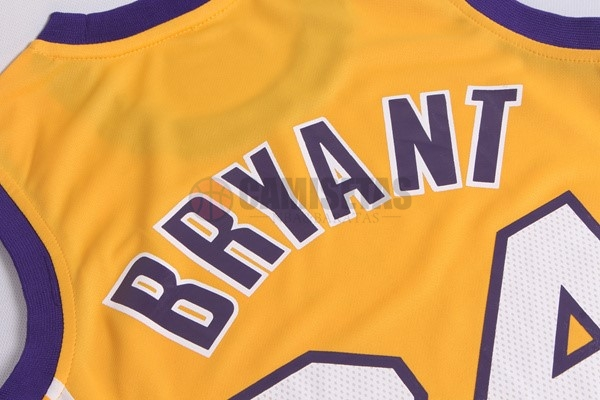 Camisetas NBA Mujer Los Angeles Lakers NO.24 Kobe Bryant Amarillo Barats