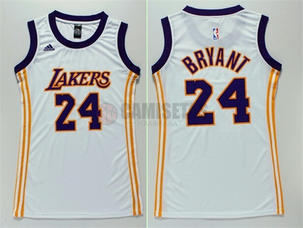 Camisetas NBA Mujer Los Angeles Lakers NO.24 Kobe Bryant Blanco 2017 Barats