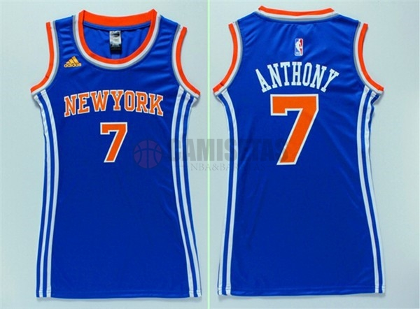 Camisetas NBA Mujer New York Knicks NO.7 Carmelo Anthony Azul Barats