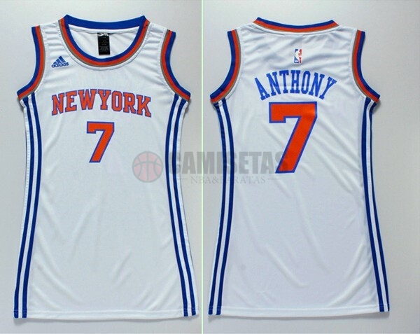 Camisetas NBA Mujer New York Knicks NO.7 Carmelo Anthony Blanco Barats
