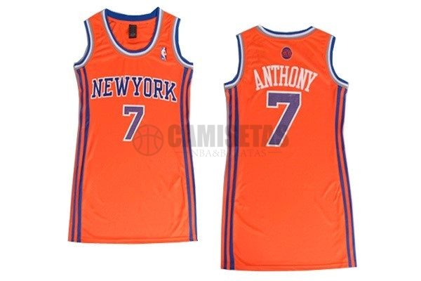 Camisetas NBA Mujer New York Knicks NO.7 Carmelo Anthony Naranja Barats