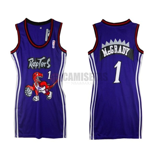 Camisetas NBA Mujer Toronto Raptors NO.1 Tracy McGrady Púrpura Barats