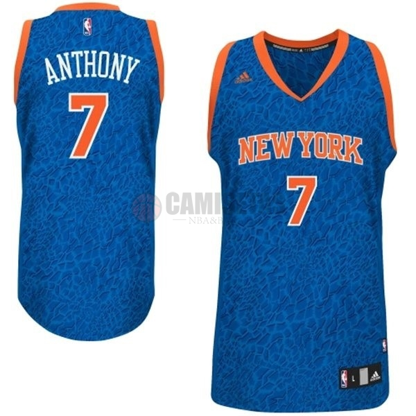 Camisetas NBA New York Knicks Luz Leopardo NO.7 Anthony Azul Barats