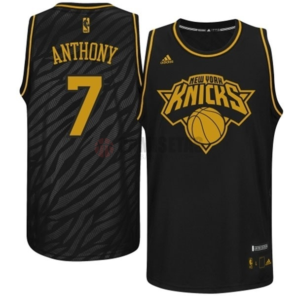 Camisetas NBA New York Knicks Metales Preciosos Moda NO.7 Anthony Negro Barats