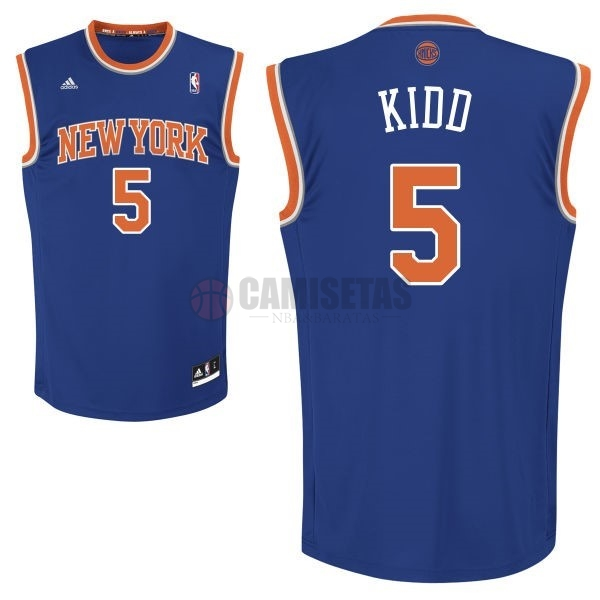 Camisetas NBA New York Knicks NO.5 Jason Kidd Azul Barats