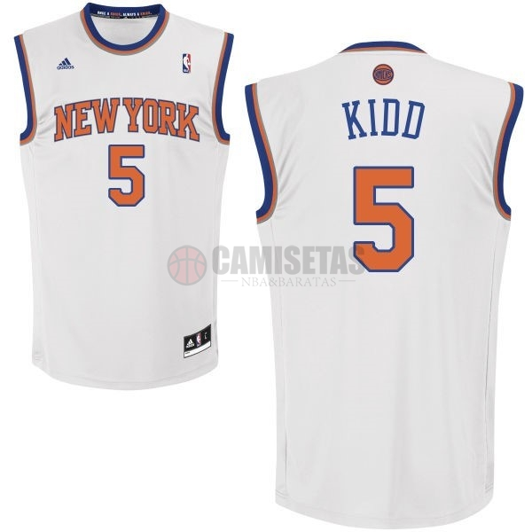 Camisetas NBA New York Knicks NO.5 Jason Kidd Blanco Barats