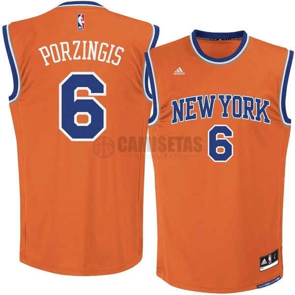 Camisetas NBA New York Knicks NO.6 Kristaps Porzingis Naranja Barats
