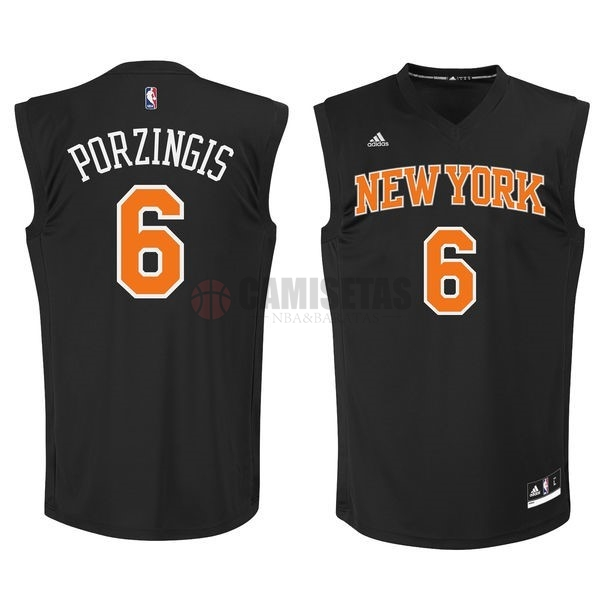 Camisetas NBA New York Knicks NO.6 Kristaps Porzingis Negro Barats