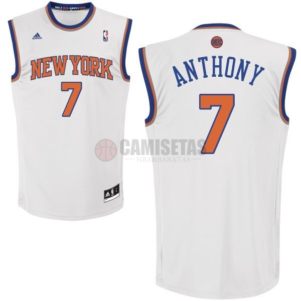 Camisetas NBA New York Knicks NO.7 Carmelo Anthony Blanco Barats