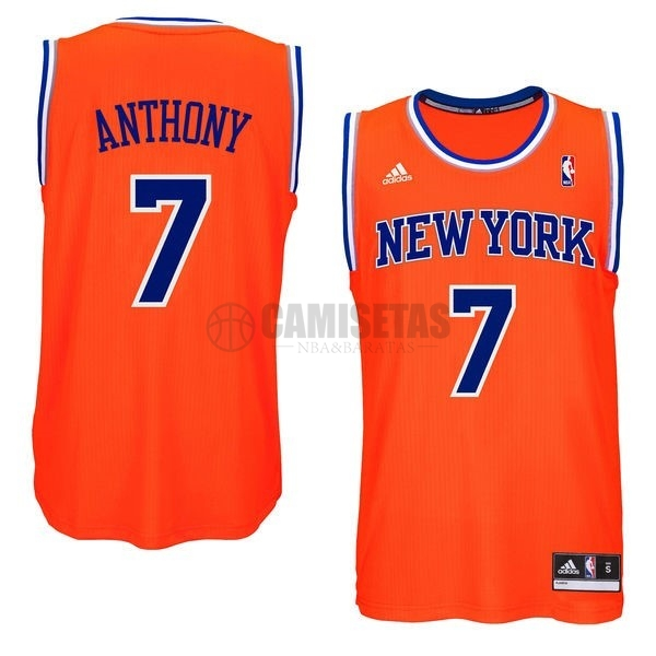 Camisetas NBA New York Knicks NO.7 Carmelo Anthony Naranja Azul Barats