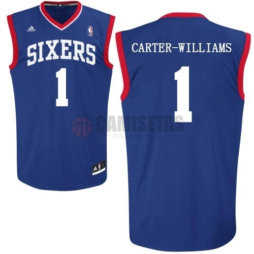 Camisetas NBA Philadelphia Sixers NO.1 Michael Carter Williams Azul Barats