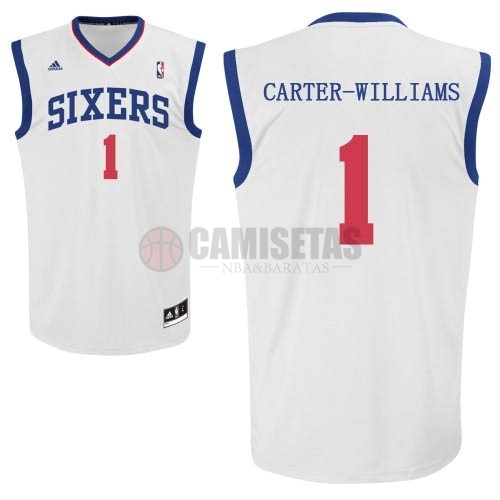 Camisetas NBA Philadelphia Sixers NO.1 Michael Carter Williams Blanco Barats