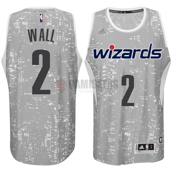 Camisetas NBA Washington Wizards Luces Ciudad NO.2 Wall Gris Barats