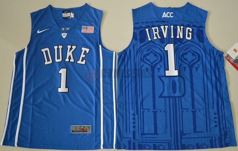 Camisetas NCAA Duke NO.1 Kyrie Irving Azul Barats