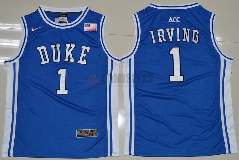 Camisetas NCAA Duke NO.1 Kyrie Irving Azul Blanco Barats