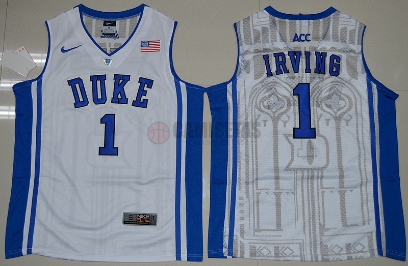 Camisetas NCAA Duke NO.1 Kyrie Irving Blanco Azul Barats