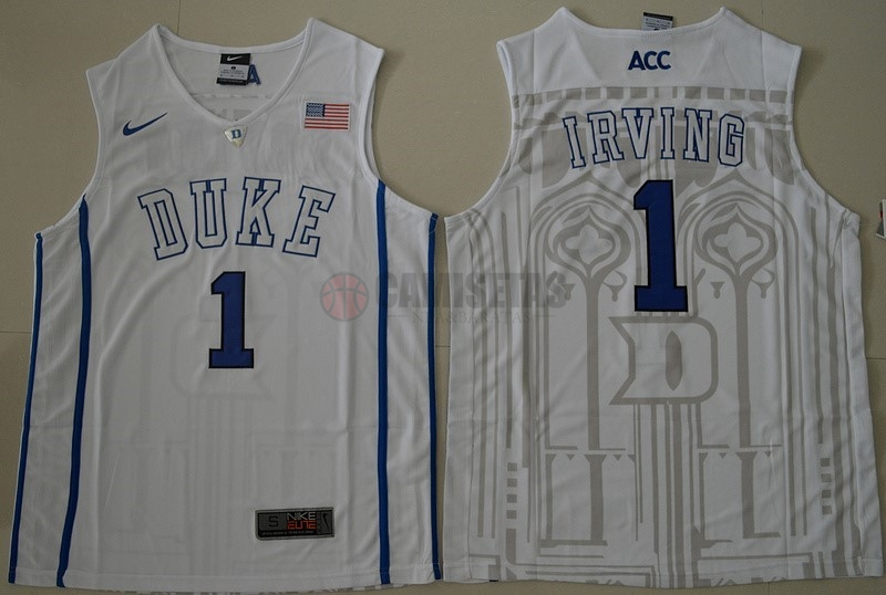 Camisetas NCAA Duke NO.1 Kyrie Irving Blanco Barats