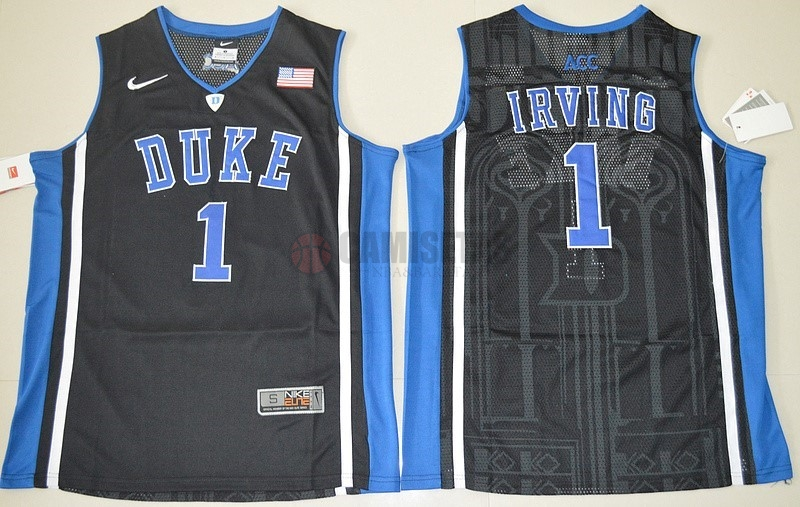 Camisetas NCAA Duke NO.1 Kyrie Irving Negro Barats