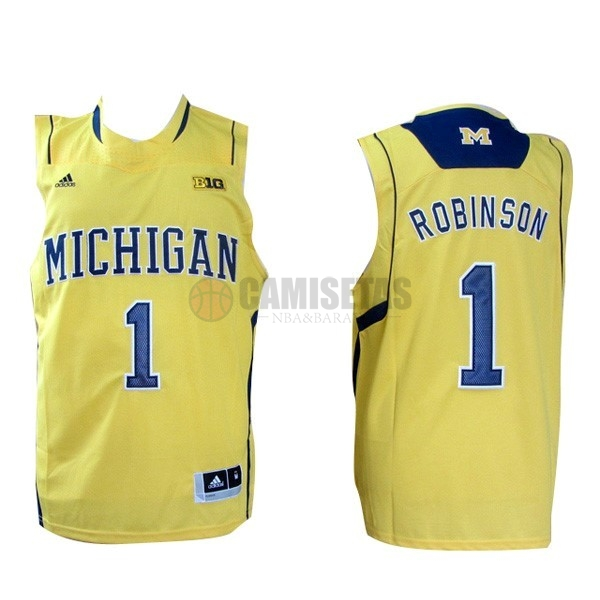 Camisetas NCAA Michigan NO.1 Glenn Robinson III Amarillo Barats