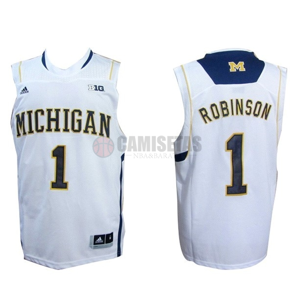 Camisetas NCAA Michigan NO.1 Glenn Robinson III Blanco Barats
