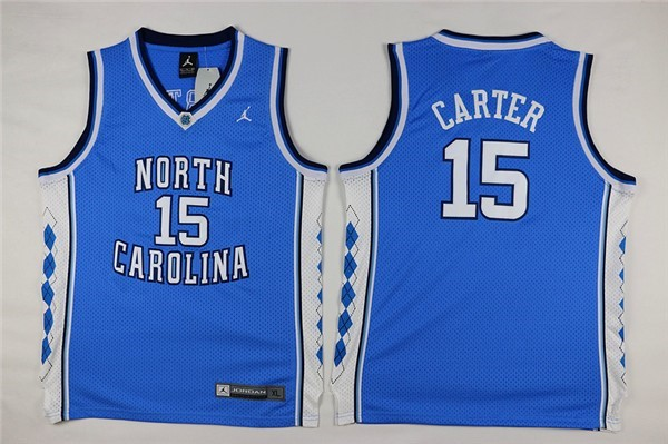 Camisetas NCAA Niño North Carolina NO.15 Vince Carter Azul Barats