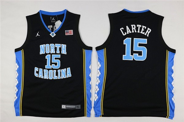 Camisetas NCAA Niño North Carolina NO.15 Vince Carter Negro Barats