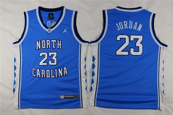 Camisetas NCAA Niño North Carolina NO.23 Michael Jordan Azul Barats