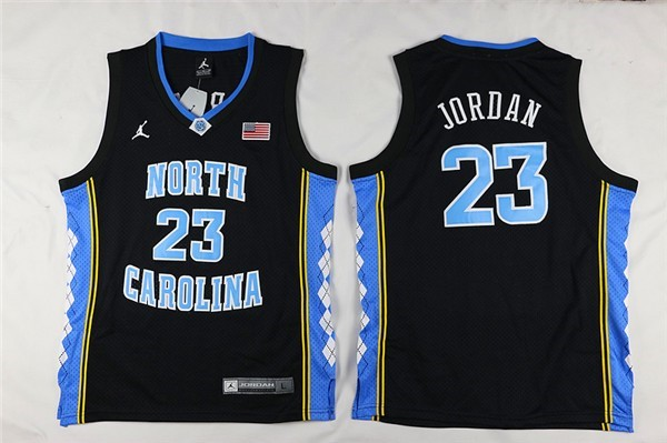 Camisetas NCAA Niño North Carolina NO.23 Michael Jordan Negro Barats