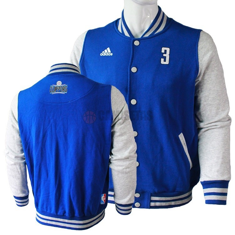 Chaqueta De Lana NBA Los Angeles Clippers NO.3 Chris Paul Azul Barats