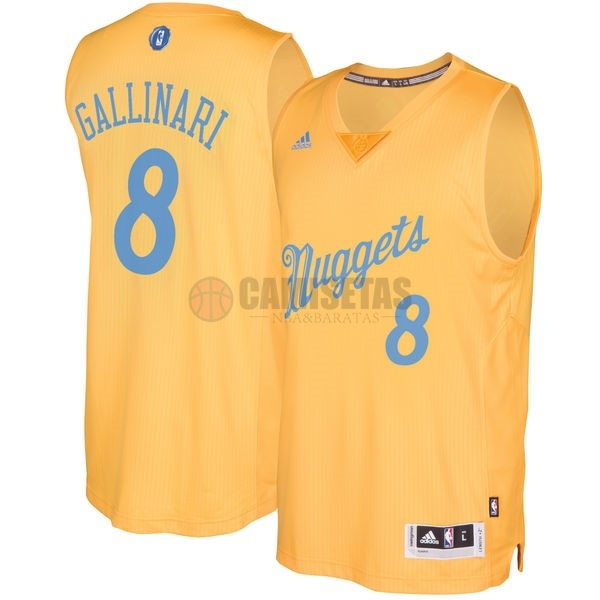 Camisetas NBA Denver Nuggets 2016 Navidad NO.8 Danilo Gallinari Amarillo Barats
