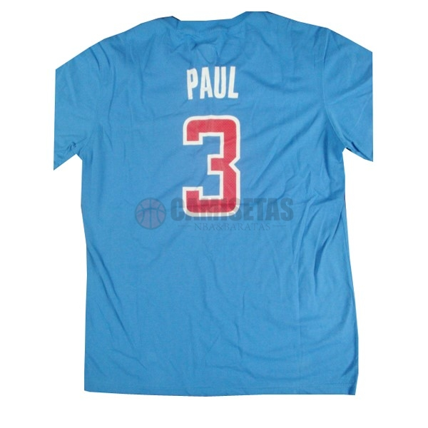 Camisetas NBA Los Angeles Clippers Manga Corta NO.3 Paul Azul Barats