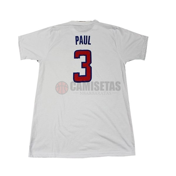 Camisetas NBA Los Angeles Clippers Manga Corta NO.3 Paul Blanco Barats
