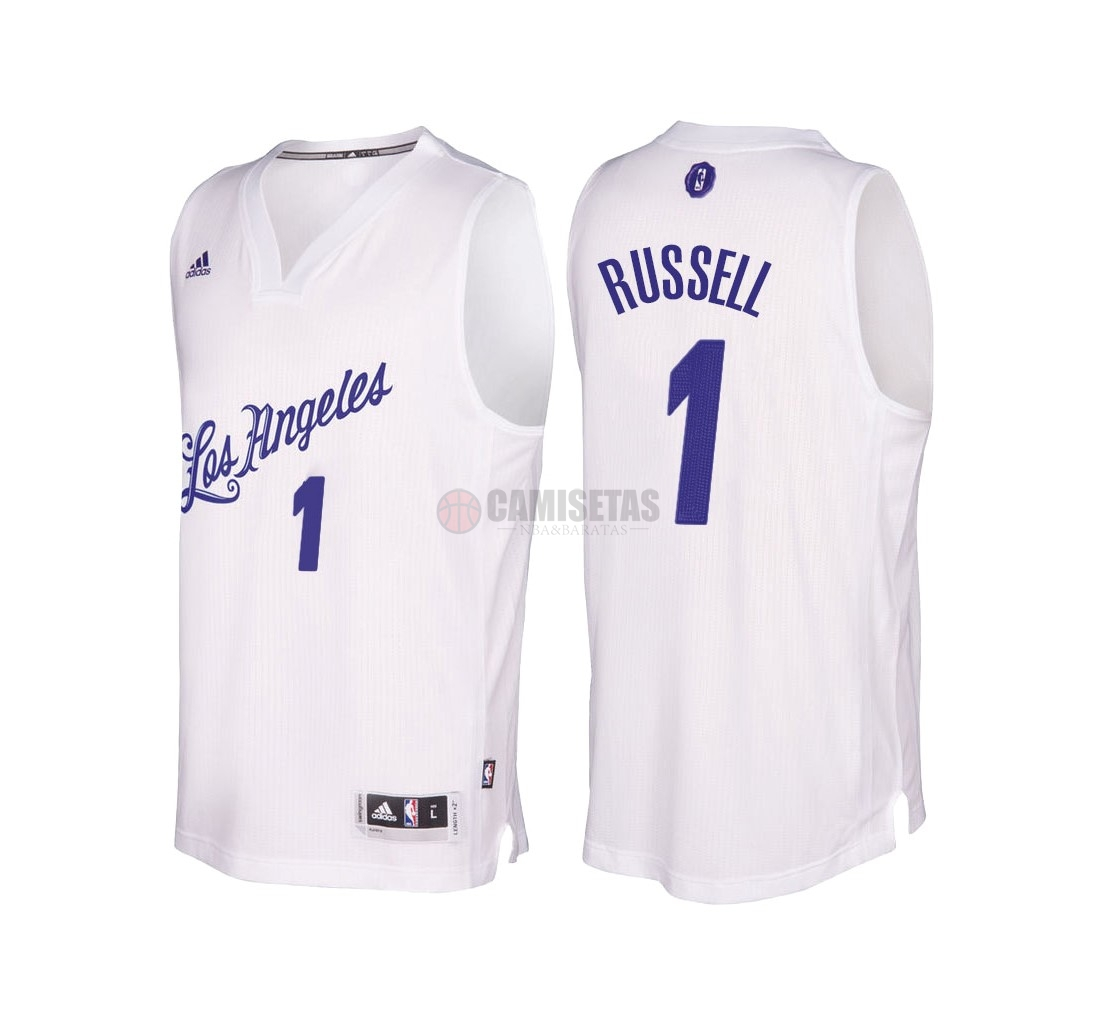 Camisetas NBA Los Angeles Lakers 2016 Navidad NO.1 D'Angelo Russell Blanco Barats
