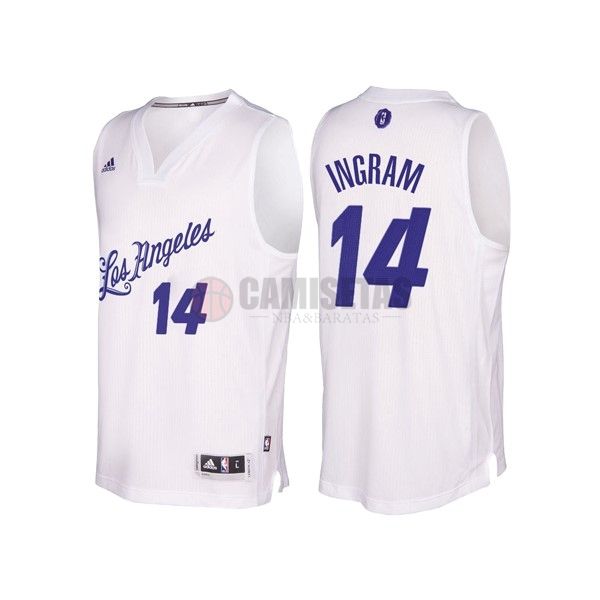 Camisetas NBA Los Angeles Lakers 2016 Navidad NO.14 Brandon Ingram Blanco Barats