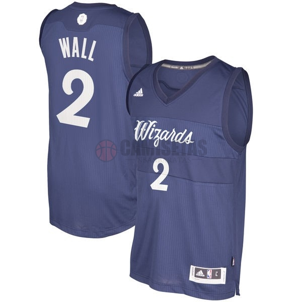 Camisetas NBA Washington Wizards 2016 Navidad NO.2 John Wall Azul Barats